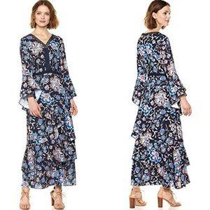 🆕Ella Moon Boho Navy Floral Long Sleeve Dress